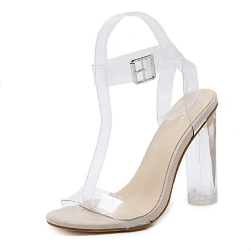 Skanlity Women's Heeled Sandals Open Toe Ankle Strap Transparent Women Pumps Buckle Strap Beige