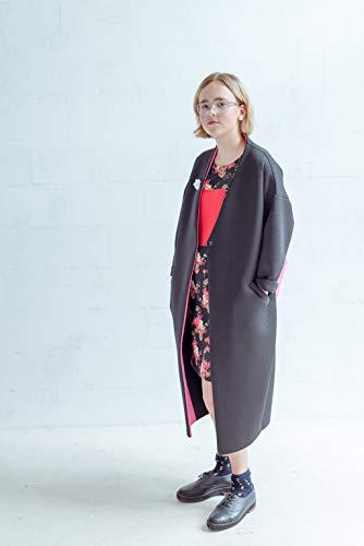 Women's Black Neoprene Belted Coat