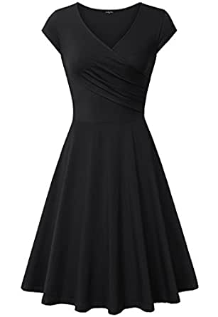 Elegant Dresses, Laksmi Womens Casual Dress A Line Cap Sleeve V Neck (Small, Black)