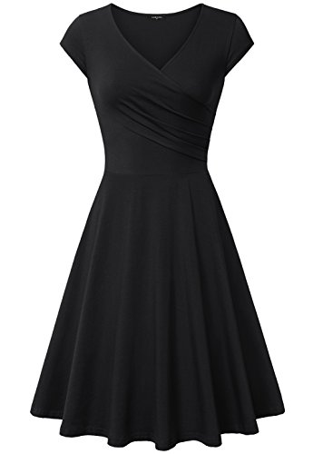 Laksmi Dresses for Women Cocktail, Knee Length Curve Pleat Discount Dress,X-Large All Black