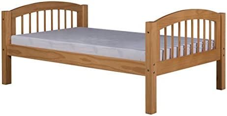 Camaflexi Platform Bed with Arch Spindle Headboard in Natural Finish