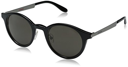 (Carrera CA5022S Round Sunglasses,Interchangeable cover, Ruthenium Black,White & Brown Gray, 49 mm)