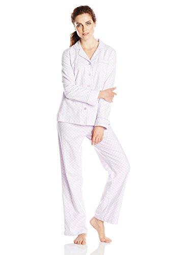 Carole Hochman Women's Classic Flannel Pajama Set, Vintage Dot, Large
