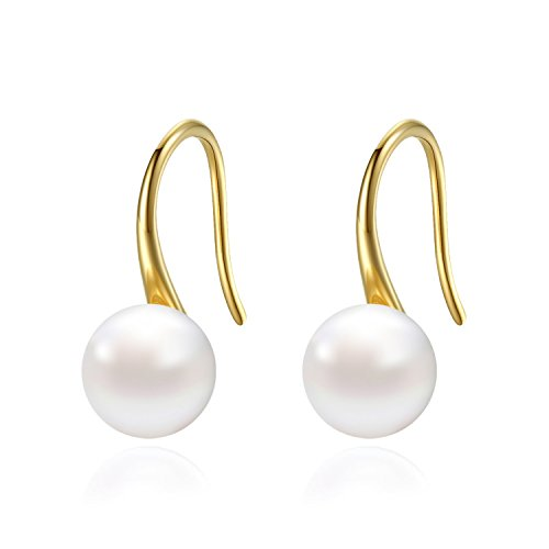 18K Yellow Gold Plated 9mm White Freshwater Cultured Pearl Dangle Drop Earrings for Womens