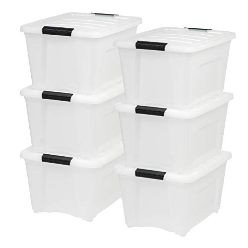(IRIS USA, Inc TB-28 32 Quart Stack & Pull Box, Multi-Purpose Storage Bin, 6 Pack, Pearl)