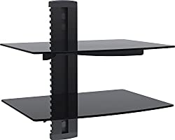 Wali Floating Shelf With Strengthened Tempered Glass For Dvd Playerscable Boxesgames Consolestv Accessories (Cs202), 2 Shelf, Black