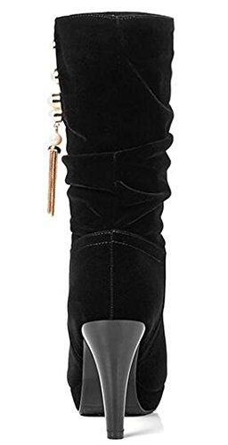Idifu Womens Perles À La Mode Haute Talons Aiguilles Plate-forme Tirer Sur Faux Suède Mi Bottes De Mollet Noir 1
