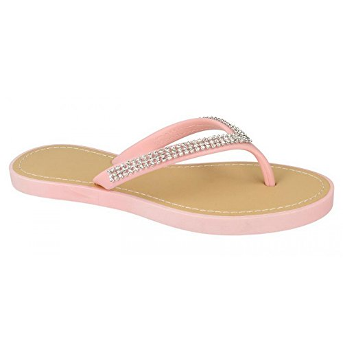 Savannah Damen Flip Flops mit Schmucksteinen Lila