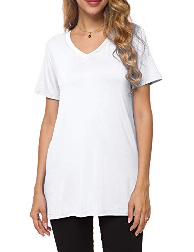 Herou Women's Casual Short Sleeve Loose Long T-Shirt Tunic Tops with Side Split (V-White, -