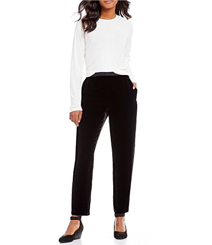 Eileen Fisher Black Velvet Ankle Length Pant Size L MSRP 238