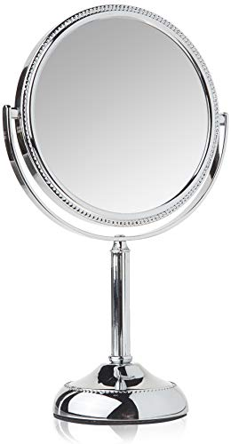 Jerdon JP910CB 1x and 10x Magnified Tabletop Swivel Vanity Mirror, 23.2 Ounce, Chrome Beaded Finish