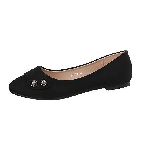 Schwarz Chaussures Hs79 Ballerines 1009–bl design Ital Femme XCxq765P