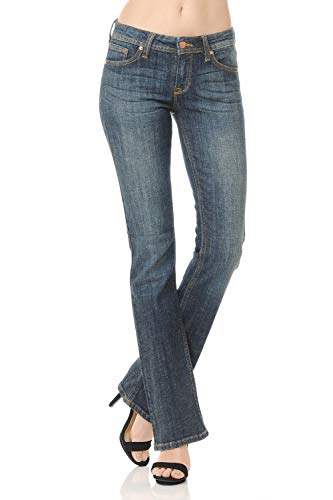 Urban Look Women's Basic Low Rise Slim Boot-Cut Jeans 0~3XL (3, 9 Dark) by Urban Look
