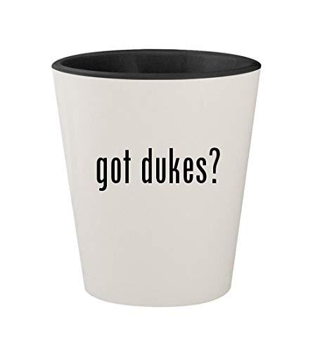 got dukes? - Ceramic White Outer & Black Inner 1.5oz Shot Glass (Daisy Duke Calendar)