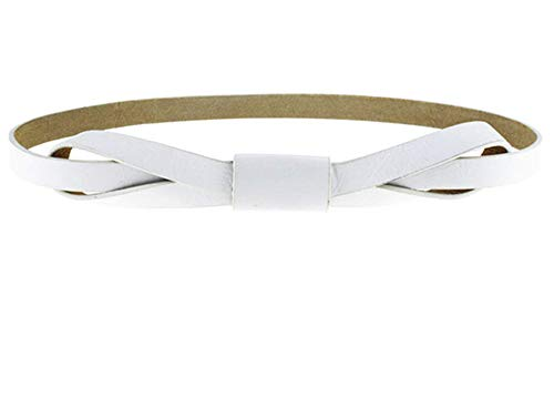 KEBINAI Women Bowknot Faux Leather Thin Women Belt,110cm,White by KEBINAI Apparel-belts