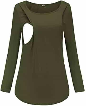 4b951034191 Ecavus Women's Maternity Layered Nursing Tops Long Sleeve Casual T-Shirt  Comfy Breastfeeding Clothes