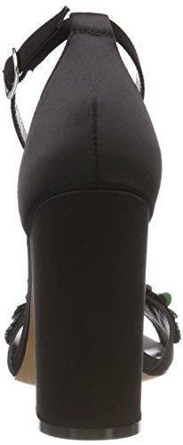 Buffalo Dames 317-0740 Satijnen Sandaaltjes Black (zwarte 01)