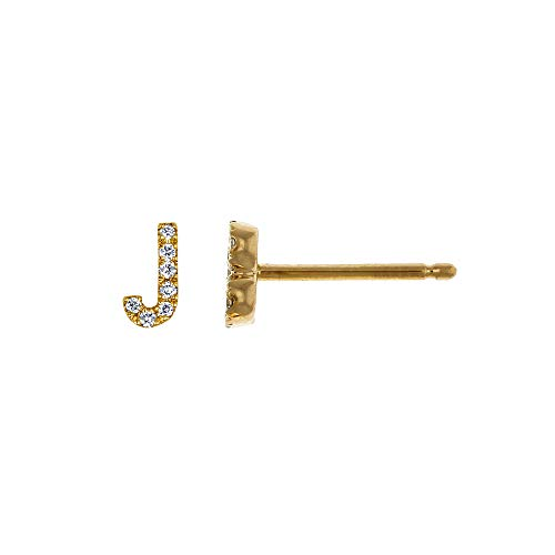 (14K Yellow Gold Diamond 'J' Initial Letter Personalized Micro-set Single Earring)