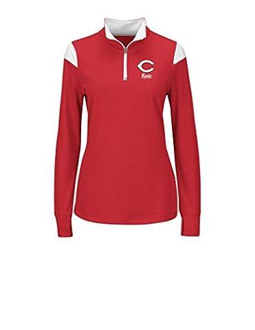 MLB Cincinnati Reds Women's L5R Fashion Tops, Red/White, Medium - Cincinnati Reds Polo