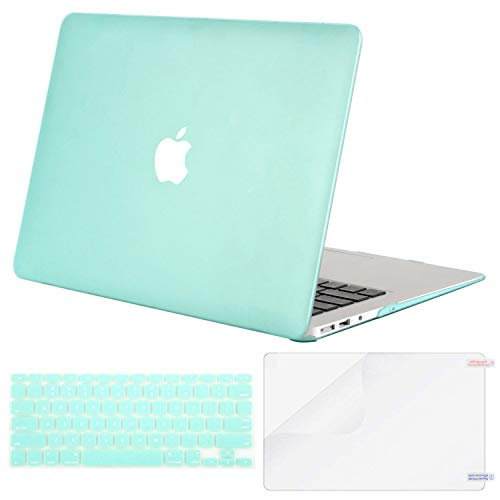 MOSISO Plastic Hard Case & Keyboard Cover & Screen Protector Only Compatible MacBook Air 13 Inch (Models: A1369 & A1466, Older Version 2010-2017 Release), Mint Green ()