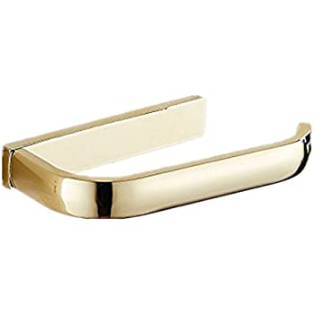 AUSWIND Gold Color Square Toilet Paper Holder Polish Solid Brass Tissue Roll Holder Wall Mount T90