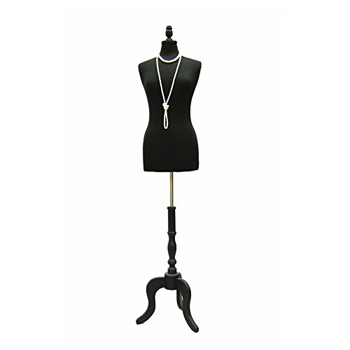 (JF-FWP-BK+BS-ATQ-BK) Size 6-8 Premium Black Female Fully Pinnable Mannequin Dress Form With Antique Style Tripod Oakwood Base with Top