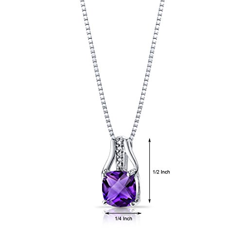 14K White Gold Amethyst Diamond Pendant Cushion Checkerboard Cut 2 Carats Total