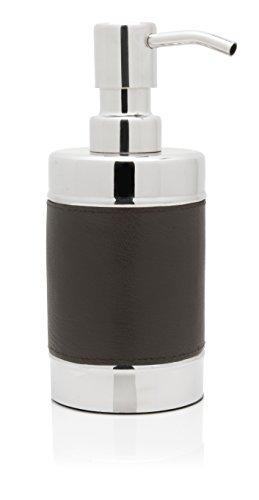 Genuine Leather Stainless Steel Bathroom Foaming Soap Dispenser, Dark Grey (Decorative Soap Foaming Dispenser)