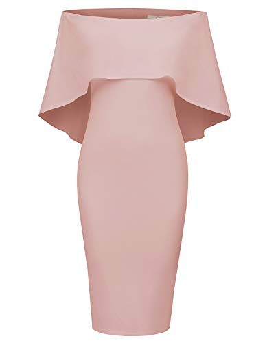 GRACE KARIN Women Off Shoulder Batwing Cape Midi Dress L Pink