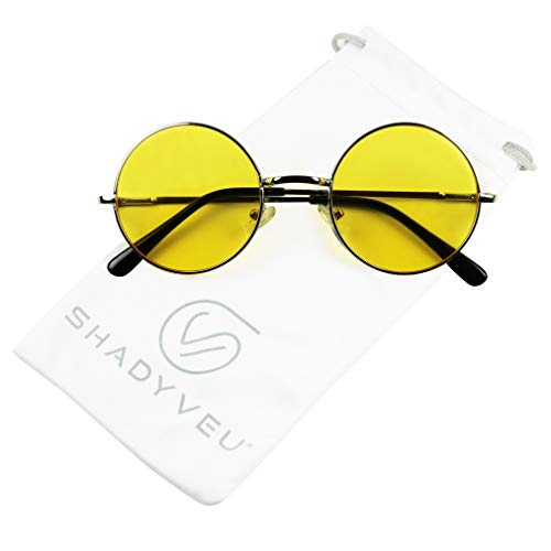 ShadyVEU - Retro Colorful Tint Lennon Style Round Groovy Hippie Wire Sunglasses (Yellow Lens, 50)