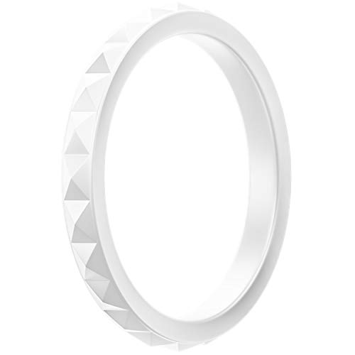 ThunderFit Thin and Stackable Silicone Ring Wedding Band for Women - Diamond Pattern - 1 Ring (White, 5.5-6 (16.5mm))
