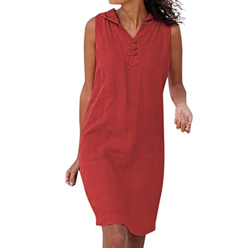 Women Solid Color Sveless T Shirt Dress Pocket Casual Outfit Sundress Bohean Straight Loose Beach Dress