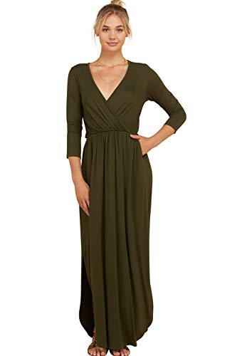 Slits Olive Dress Women's Annabelle Side Shirring 3 Length Sleeve Full 3XL Maxi Detail Bust Wrap S 4 4OawqSP