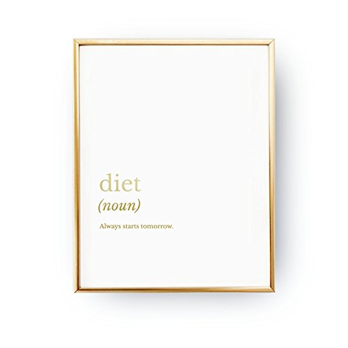 Diet Definition, Funny Kitchen Print, Cooking Decor, Real Gold Foil, Typography Print, Diet Quote, Definition Print, Kitchen Wall Decor