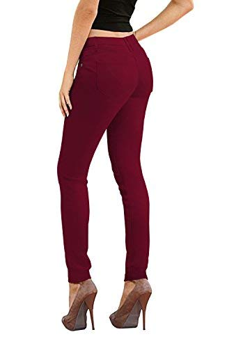 Women's Butt Lift Stretch Denim Jeans-P37387SK-WINE-15