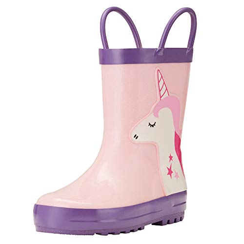 - ADAMUMU Kids Rain Boots for Boys & Girls with Easy-On Handles, Toddler Children's Waterproof Rubber Shoes in Unicorn Patterns, Various Prints and Different Sizes
