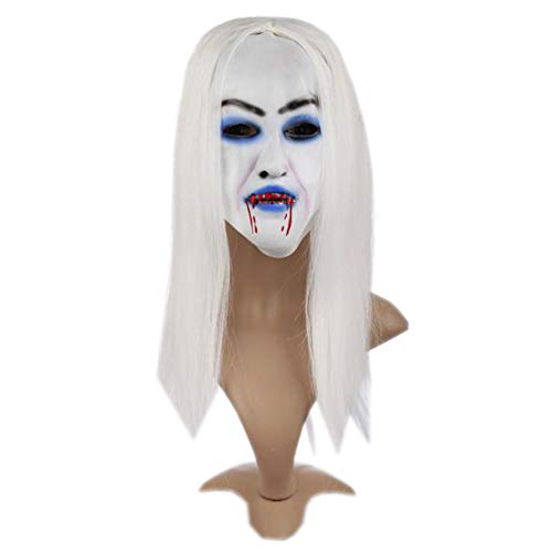 Halloween Funny Diversity Fancy Party Ghost Mask Scary Zombie Emulsion Skin with Hair(Style1)]()