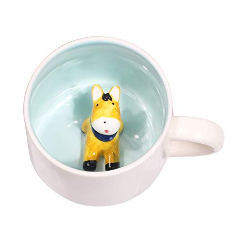 3D Cute Cartoon Miniature Animal Figurine Ceramics Coffee Cup - Baby Animal Inside, Best Office Cup & Birthday Gift (Donkey)