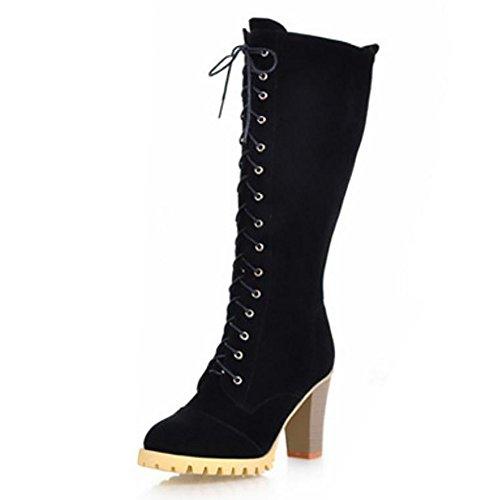KemeKiss Women Mid Stylish Zipper Calf Boots Heel Block Black High 77wrdTxF