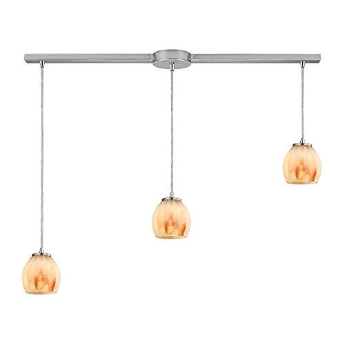 picture of Elk Lighting 10421/3L-TS Melony - Three Light Pendant, Satin Nickel Finish with Frosted Glass