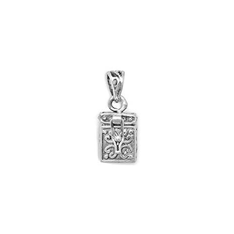 Sterling Silver Charm, 3/4 inch (incl bail), Prayer Box, Ichthys/Cross - Cross Prayer Box Charm