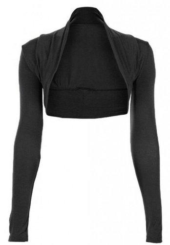 Hot Hanger Womens Long Sleeved Bolero Shrug Size 8-22 (12-14 ML, Black)