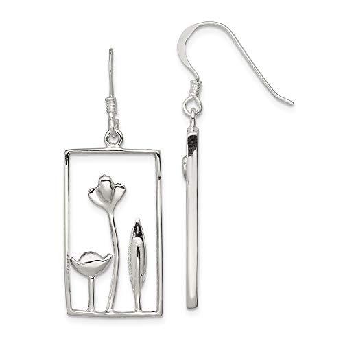 (Mia Diamonds 925 Sterling Silver Solid Rectangle Flower Dangle Earrings (40mm x 11mm))