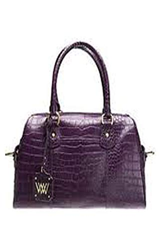 Medium Python or Croco Embossed Leather Satchel - Purple Color