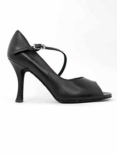 Ritmo Latein Salsa Rumba Tango Damen Tanz Schuhe VL424 mit Chromledersohle, Absatz 9 cm Schwarz
