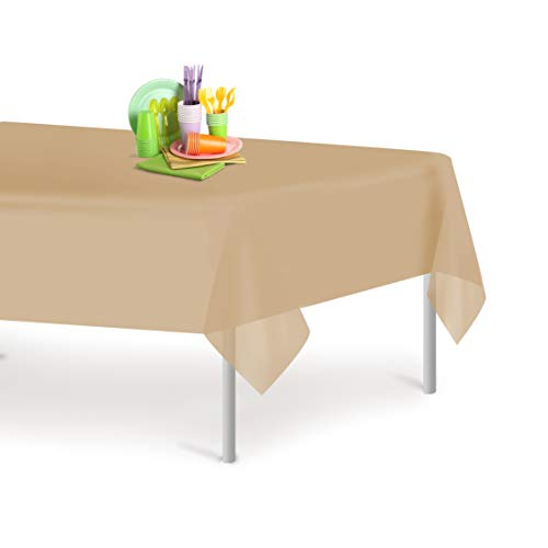 Beige 12 Pack Premium Disposable Plastic Tablecloth 54 Inch. x 108 Inch. Rectangle Table Cover By Grandipity