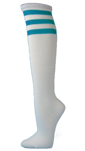 Couver White Striped Knee High Fashion Casual Tube Cotton Socks, TURQUOISE (1 Pair) -