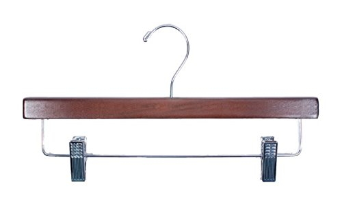 NAHANCO 8214RCCH Wood Skirt/Slack Hanger, Walnut with Chrome Hardware, 14'' (Pack of 100)