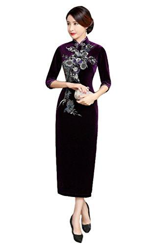 Traditional Violet Chinois Robe Qipao Floral Fleur Velours Cheongsam Classique Elégant Acvip Motif Longue Femme 1axOaqY