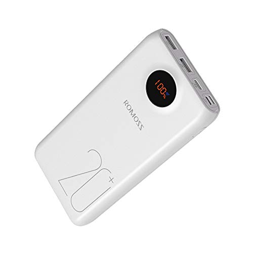 ROMOSS 20000mAh Type-C PD Portable Charger with LED Display,18W Fit Charge 3 Output and 3 Input Power Bank,External Battery Pack Compatible with Nintendo Switch, iPhone Xs/8 Plus, Samsung S9 and - Cell Types Batteries Phone
